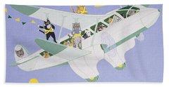Cat Air Show Beach Towel by Pat Scott