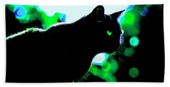 Cat Bathed In Green Light Beach Towel by Gina O'Brien