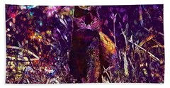 Beach Towel featuring the digital art Cat Black Sun Meadow  by PixBreak Art
