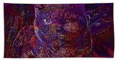 Beach Towel featuring the digital art Cat Cat S Eyes Eye Animal Pet  by PixBreak Art