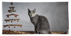 Cat Christmas Beach Towel