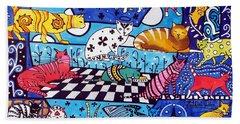 Cat Cocktail - Cat Art By Dora Hathazi Mendes Beach Towel