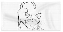 Cat Gesture Sketch Beach Towel