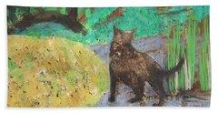 Cat In A Garden Beach Towel