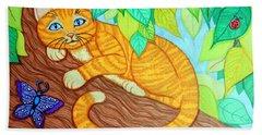 Cat In A Tree Beach Towel by Nick Gustafson