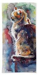 Cat In Backlight Beach Sheet