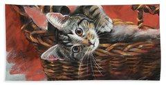 Cat In The Basket Beach Towel