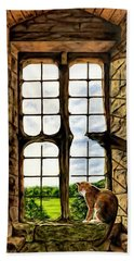 Cat In The Castle Window Beach Towel
