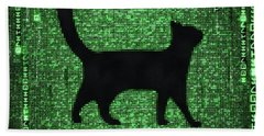 Beach Towel featuring the digital art Cat In The Matrix Black And Green by Matthias Hauser