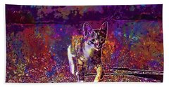Beach Towel featuring the digital art Cat Kitten Cat Baby Mackerel  by PixBreak Art
