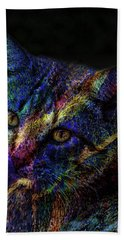 Cat Of Many Colors Beach Sheet