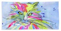 Cat Of Many Colors Beach Sheet