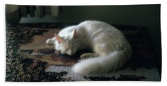 Cat On A Puzzle Beach Towel