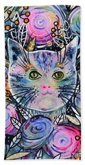 Beach Towel featuring the painting Cat On Flower Bed by Zaira Dzhaubaeva