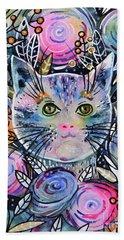 Beach Towel featuring the painting Cat On Flower Bed by Zaira Dzhaubaeva