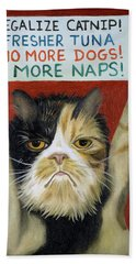 Beach Towel featuring the painting Cat On Strike by Leah Saulnier The Painting Maniac