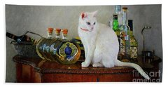 Cat On The Liquor Cabinet Beach Towel