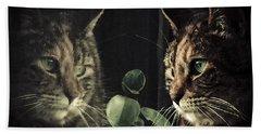 Cat Reflecting Beach Towel