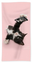 Cat Selfie Beach Towel