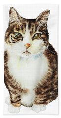 Beach Towel featuring the painting Cat Watercolor Illustration by Irina Sztukowski