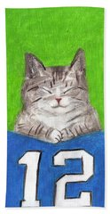 Cat With 12th Flag Beach Towel