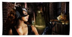 Cat Woman Beach Towel