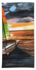 Catamaran At Sunset Beach Towel