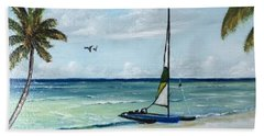 Catamaran On The Beach Beach Towel