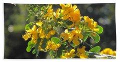 Catchlight Bee Over Yellow Blooms Beach Sheet