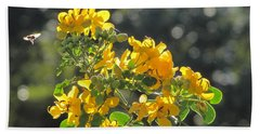 Catchlight Bee Over Yellow Blooms Beach Towel