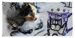 Catfinated Kitty Beach Towel by Deborah Nakano