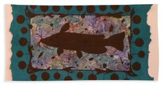 Catfish Silhouette Beach Towel