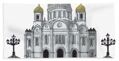 Beach Towel featuring the drawing Cathedral  Of Christ The Savior - Moscow by Frederic Kohli