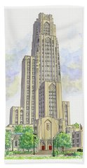 Cathedral Of Learning Beach Sheet by Val Miller