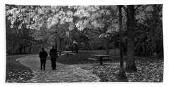 Cathedral Park In Fall Bw Beach Towel