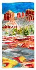 Cathedral Rock Crossing Beach Towel by Eric Samuelson