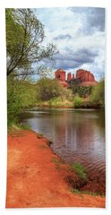 Beach Towel featuring the photograph Cathedral Rock From Oak Creek by James Eddy