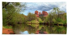 Cathedral Rock Reflection Beach Towel by James Eddy