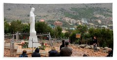 Catholic Pilgrim Worshipers Pray To Virgin Mary Medjugorje Bosnia Herzegovina Beach Towel