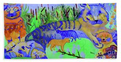 Cats And A Fiddle Beach Towel