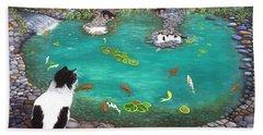 Beach Towel featuring the painting Cats And Koi by Karen Zuk Rosenblatt