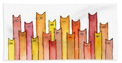 Cats Autumn Colors Beach Towel by Olga Shvartsur