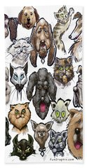 Cats N Dogs Beach Sheet by Kevin Middleton