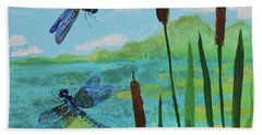 Cattails And Dragonflies Beach Towel
