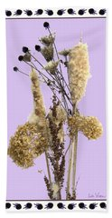 Cattails And November Flowers Beach Towel