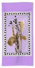 Beach Towel featuring the digital art Cattails And November Flowers by Lise Winne