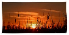 Cattails And Twilight Beach Sheet by Kathy M Krause