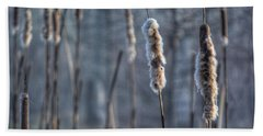 Cattails In The Winter Beach Towel by Sumoflam Photography