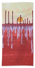 Cattails Original Painting Sold Beach Towel