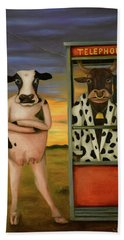 Cattle Call Beach Towel by Leah Saulnier The Painting Maniac